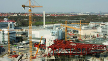 The construction of the new Porsche museum with the intricate steel construction. (March 2007)