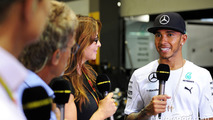 Lewis Hamilton, Mercedes AMG F1 with Suzi Perry, BBC F1 Presenter; Eddie Jordan, BBC Television Pundit and David Coulthard, Red Bull Racing and Scuderia Toro Advisor / BBC Television Commentator