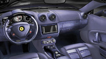 Denim- and blue carbon fiber-trimmed interior of Ferrari California, Tailor-Made program 07.12.2011