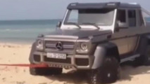 WCF reader films Mercedes-Benz G63 AMG 6x6 towed after getting stuck on a Kuwait beach
