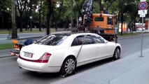 Tow truck fails to pick up Maybach 62S because it's too heavy [video]