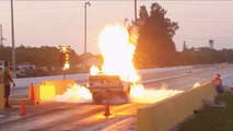 Chevy drag racer explodes off the line