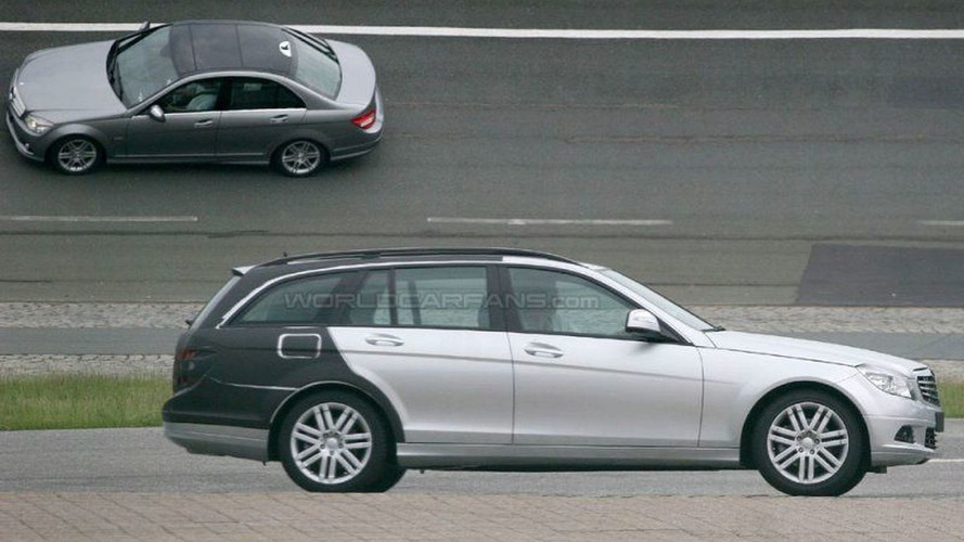 New Mercedes C-Class Estate Spy Photos with Less Camo