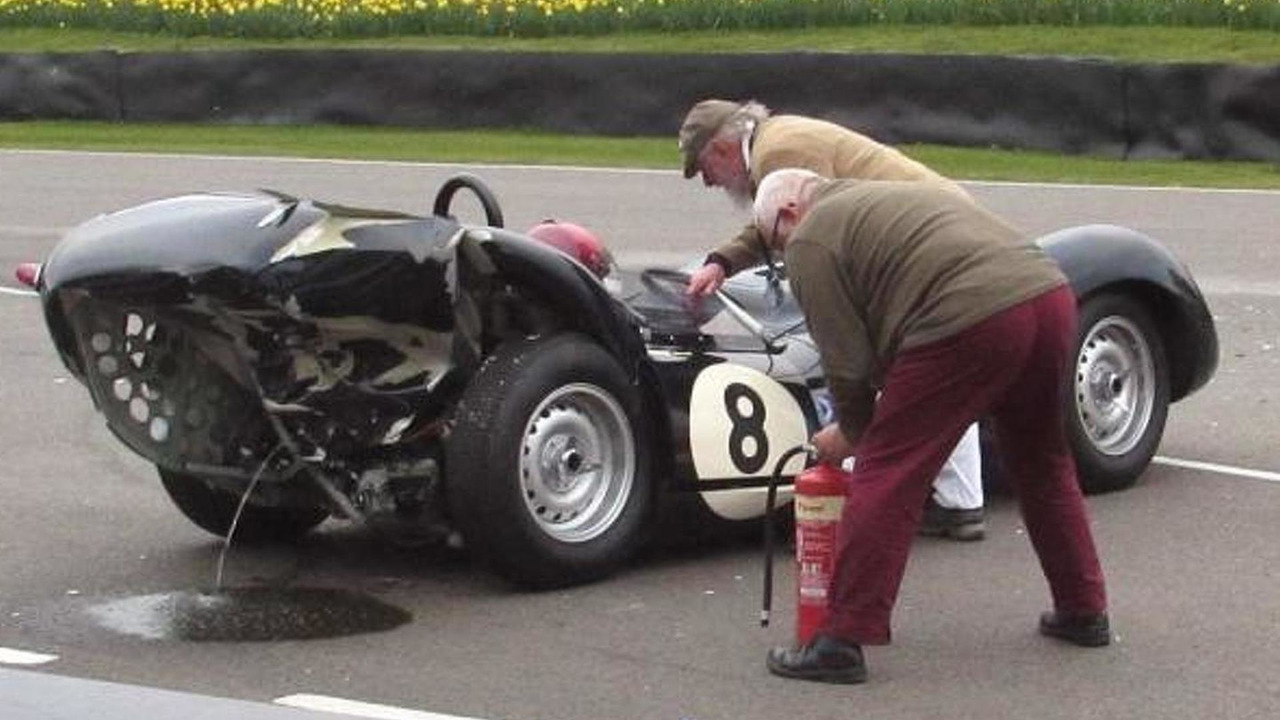 Lister-Jaguar Knobbly crashed at Goodwood