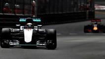 Lewis Hamilton, Mercedes AMG F1 W07 Hybrid on track ahead of Daniel Ricciardo, Red Bull Racing RB12