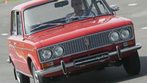 Jenson Button drives a Lada 1500 at a safety demonstration [video]