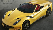 Ferrari F12tdf rendered without roof to become Aperta