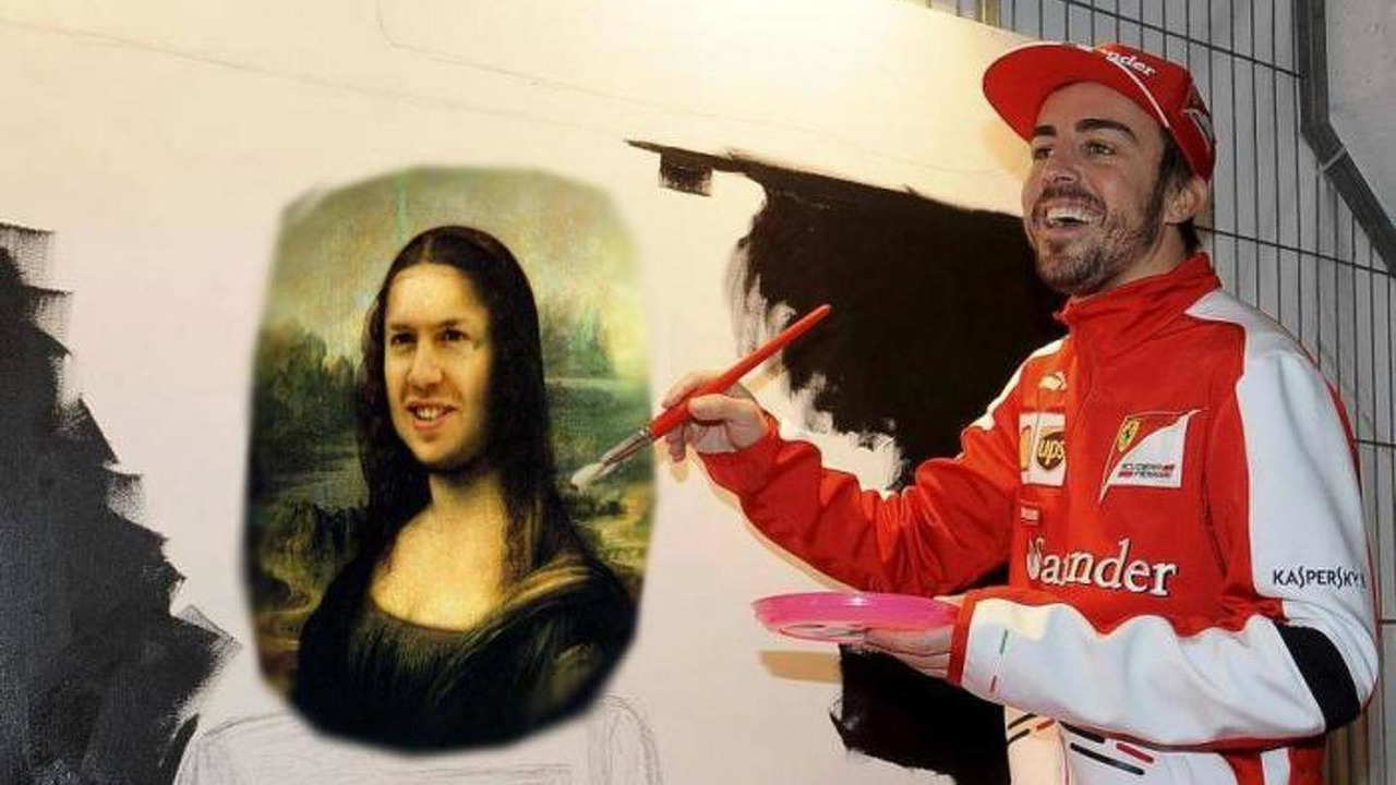 Fernando Alonso and his Mona Vettel painting 24.03.2013