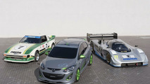 Mazda2 2Evil Special concept with Mazda RX-792P and Series 1 RX-7 IMSA racecars