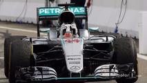 Race winner Lewis Hamilton, Mercedes AMG F1 W07 Hybrid celebrates as he enters parc ferme