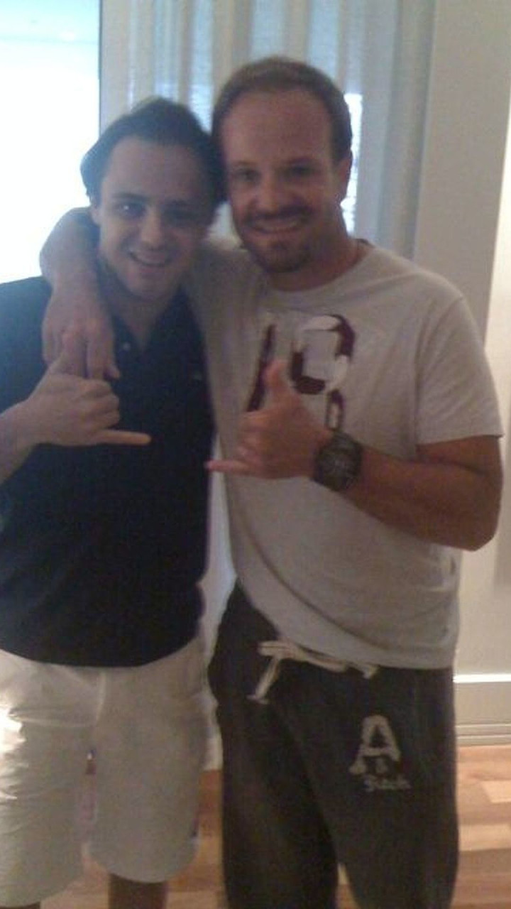 Photo posted by Rubens Barrichello with Felipe Massa in Brasil 12.08.2009