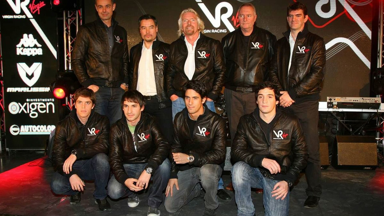 Luiz Razia, Nick Wirth, Timo Glock, Alex Tai, Sir Richard Branson, Lucas Digrassi, John Booth, Alvaro Parente, Graeme Lowden, Virgin Racing team announcement, London, England, 15.12.2009