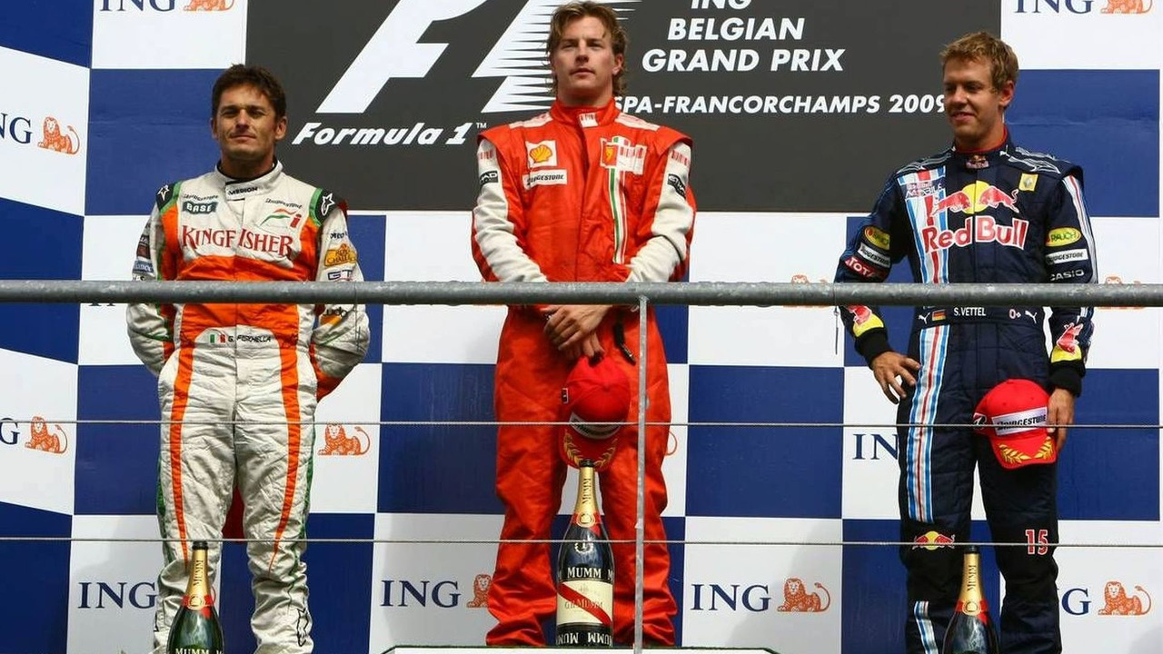 2009 Belgium Grand Prix in Spa - Podium - 1st, Kimi Raikkonen (FIN), Räikkönen, Scuderia Ferrari , 2nd, Giancarlo Fisichella (ITA), Force India F1 Team, 3rd , Sebastian Vettel (GER), Red Bull Racing