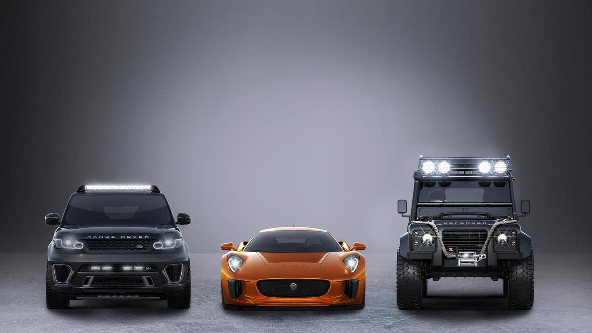 Jaguar C-X75, Range Rover Sport SVR and Land Rover Defender Big Foot starring in SPECTRE