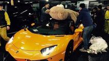DMC Lamborghini Aventador with giant teddy bear