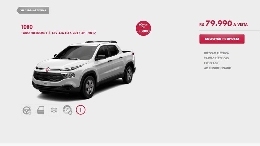 Fiat Toro tem promoção com versão de entrada a R$ 79.990