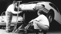 Ferry Porsche and his son Ferdinand Alexander in front of a Porsche 911