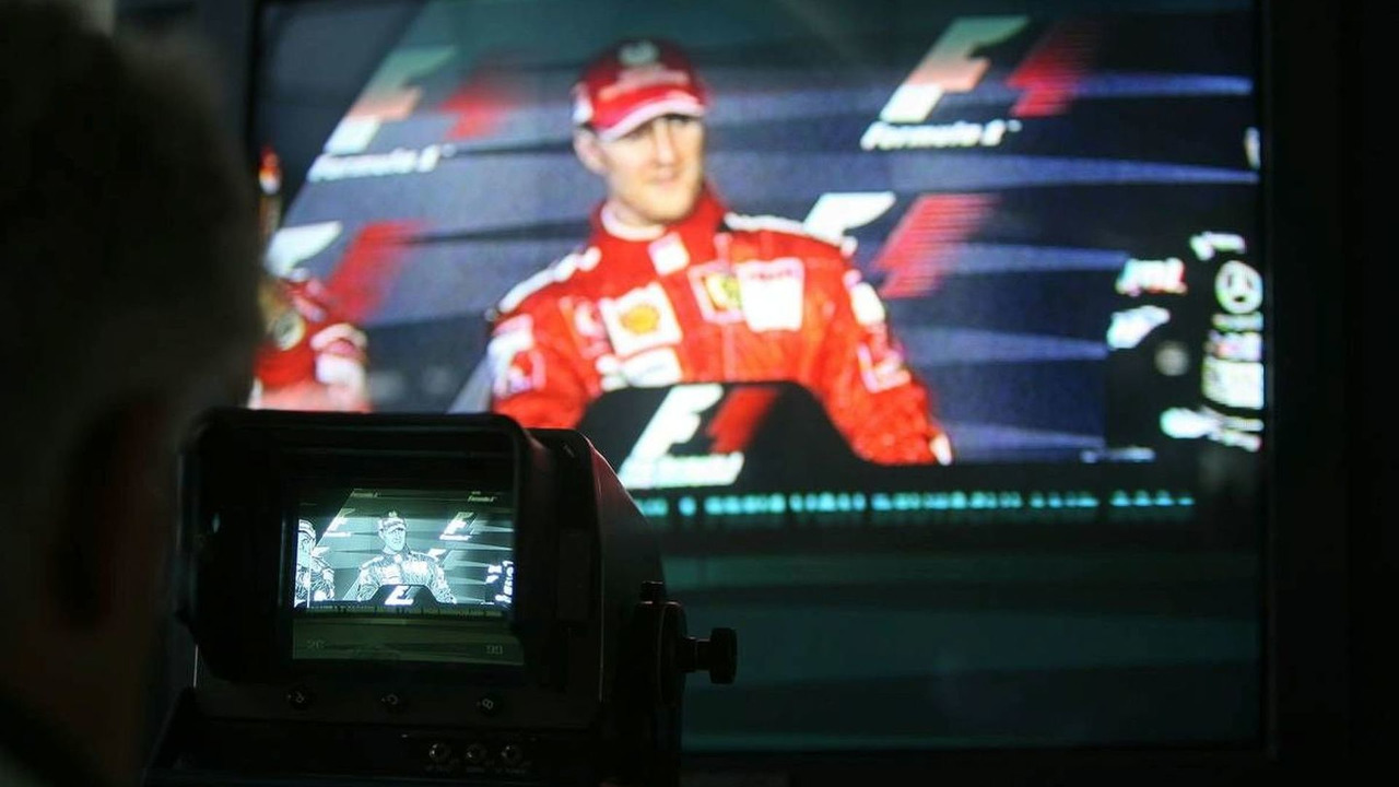 Michael Schumacher (GER), Scuderia Ferrari in the press conference on a tv monitor, German Grand Prix, Sunday Race, 30.07.2006 Hockenheim, Germany