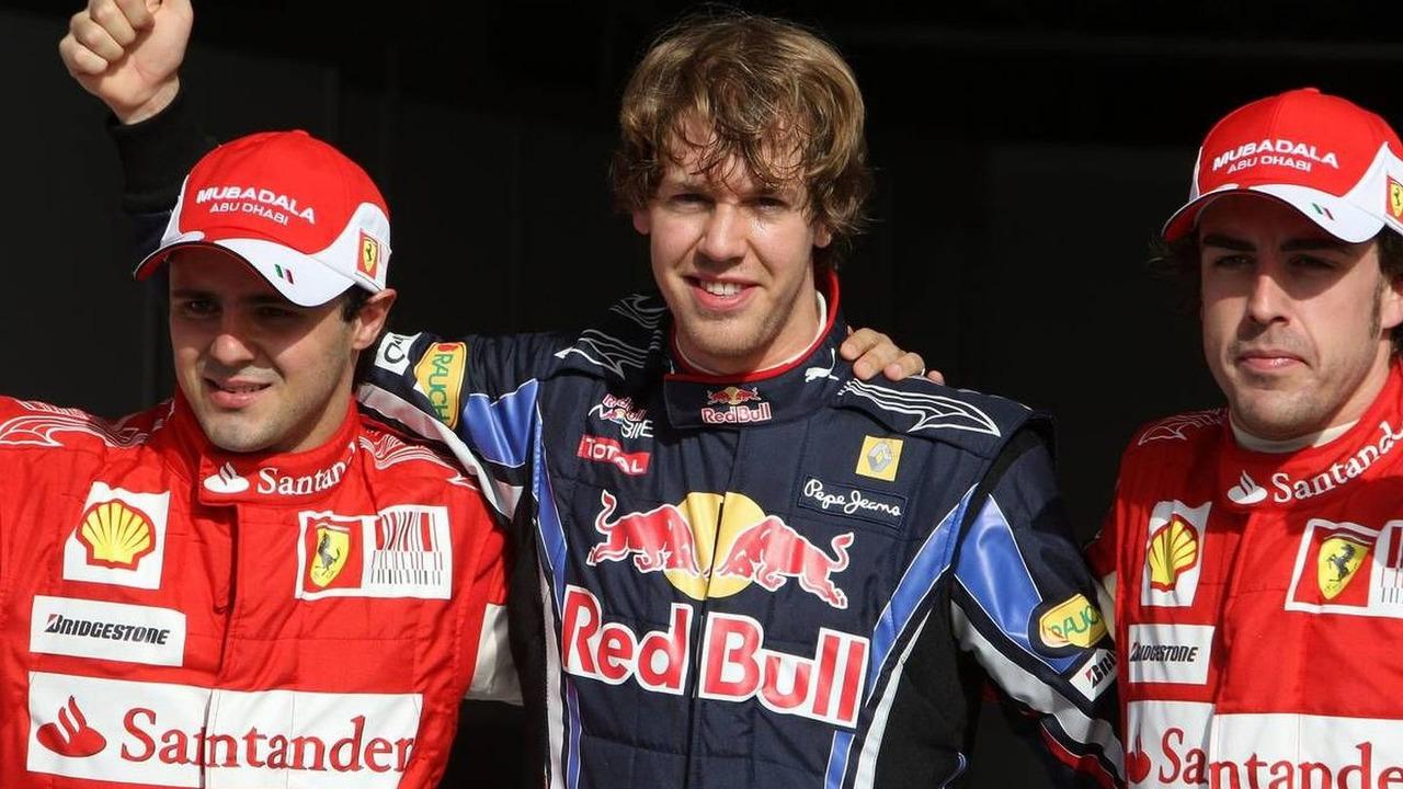 Felipe Massa (BRA), Sebastian Vettel (GER), and Fernando Alonso (ESP), Bahrain Grand Prix, 13.03.2010 Sakhir, Bahrain