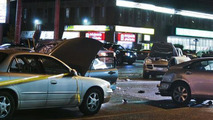 63 year old woman driving Lincoln Navigator smashes into 16 cars before hitting a pole