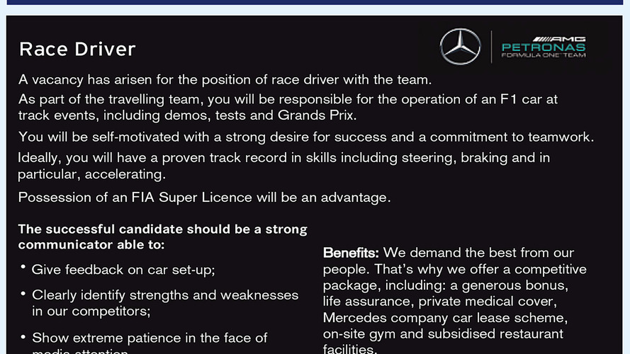 Mercedes places classified ad for F1 driver in Autosport