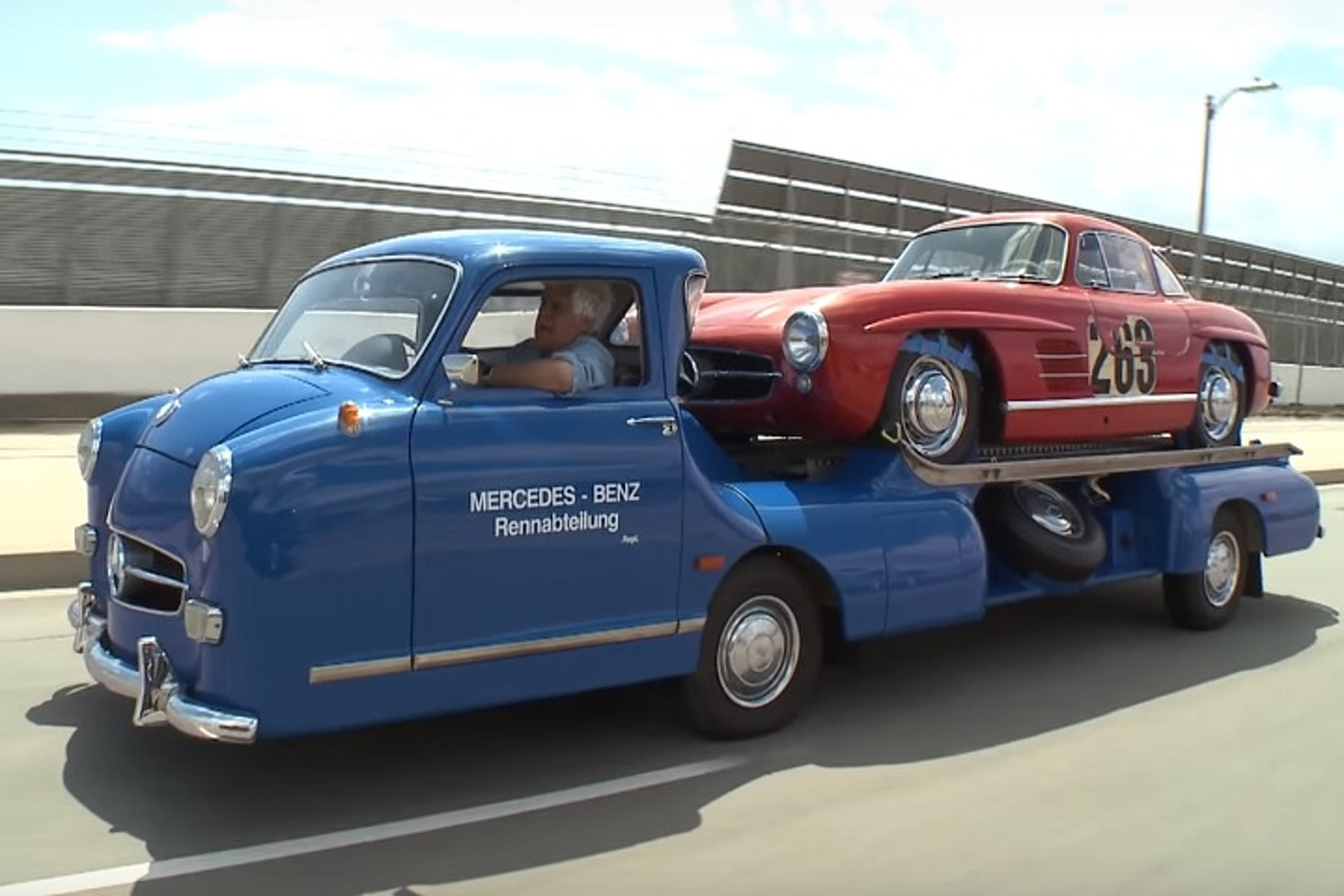 Watch Jay Leno Take His Mercedes-Benz Race Car Transporter for a Spin