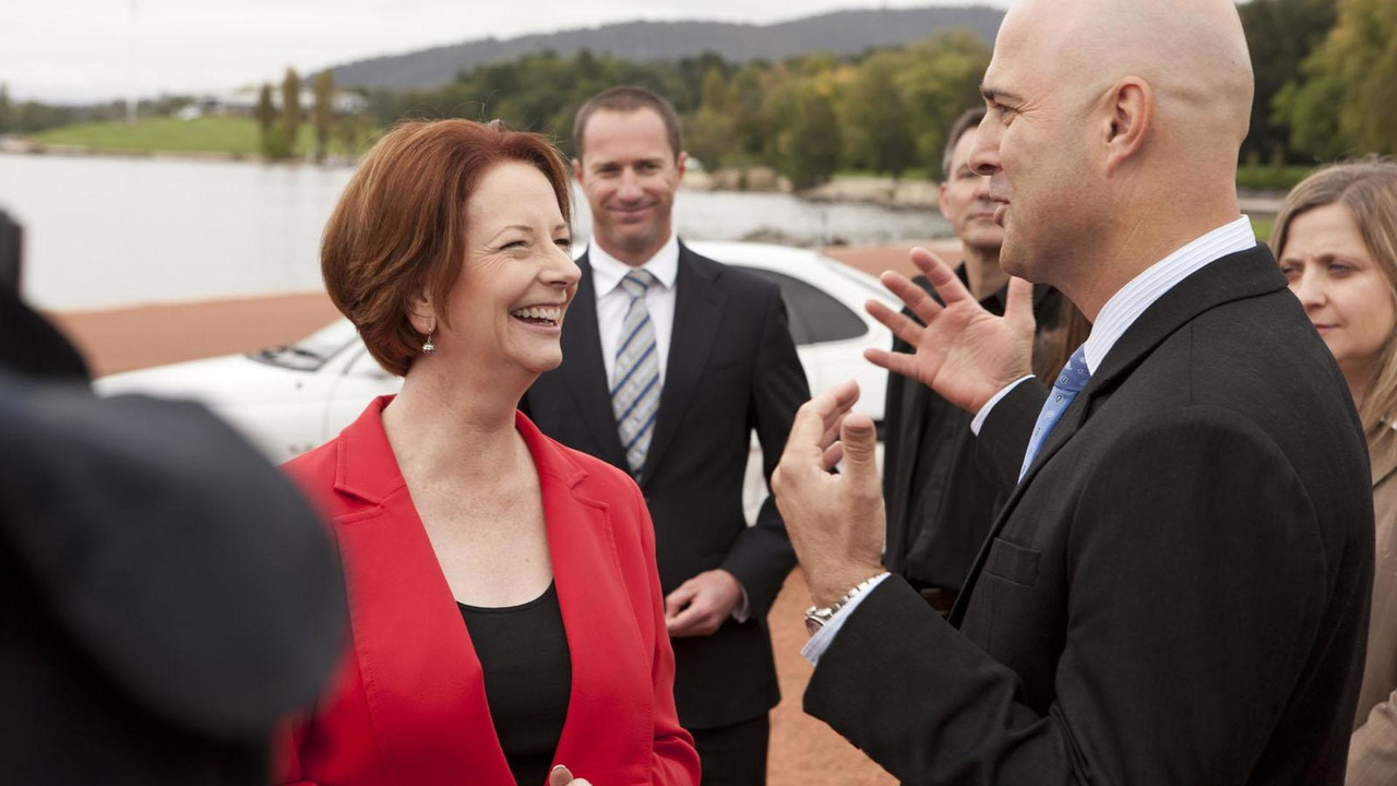 Holden Chairman Mike Devereux and Prime Minister Julia Gillard 22.3.2012