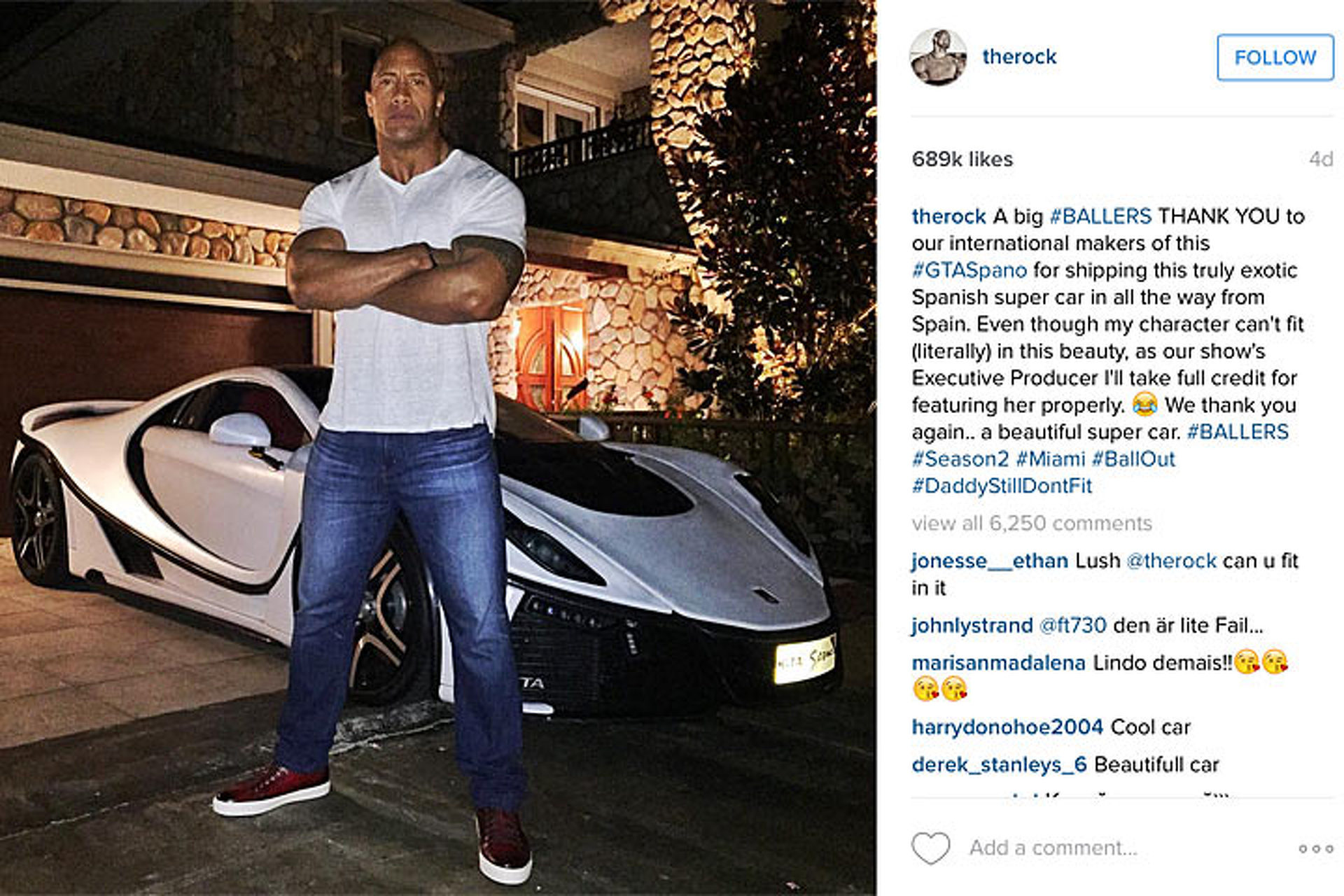 "Dwayne ""The Rock"" Johnson is Too Big for the Ferrari LaFerrari"