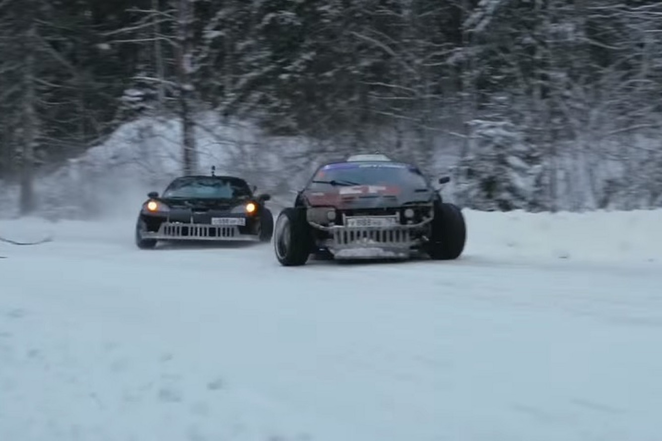 Watch a Supra Take On a Corvette in a Snowy Drift Battle
