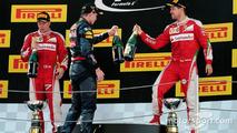 Race winner Max Verstappen, second place Kimi Raikonnen, third place Sebastian Vettel