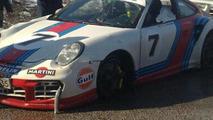 Porsche 997 Martini GT2 crashes in Finland