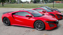 Red Acura NSX duo photographed up close