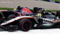 Carlos Sainz Jr. and Sergio Perez battle for position, Austrian GP 2016