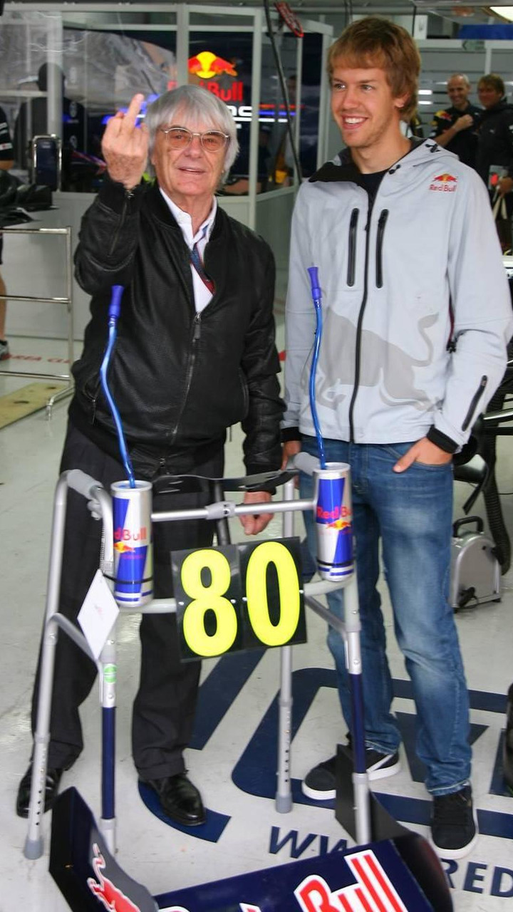 Bernie Ecclestone (GBR) turns 80 next week and for a special birthday present the Red Bull team have given him a Zimmer frame with Sebastian Vettel (GER), Red Bull Racing - Formula 1 World Championship, Rd 17, Korean Grand Prix, 24.10.2010 Yeongam, Korea