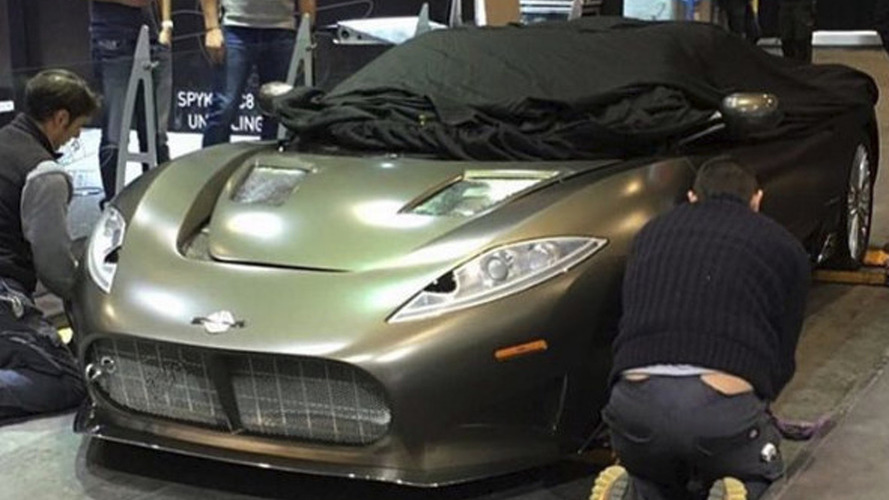 Spyker C8 Preliator spied on the Geneva floor