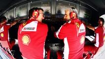 James Allison, Ferrari Chassis Technical Director and Maurizio Arrivabene, Ferrari Team Principal on the pit gantry