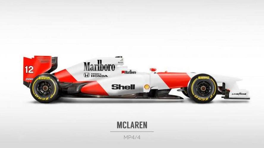 Retro liveries rendered on 2013 Formula 1 cars