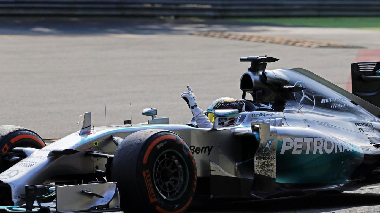 Race winner Lewis Hamilton (GBR) celebrates at the end of the race, 07.09.2014, Italian Grand Prix, Monza / XPB