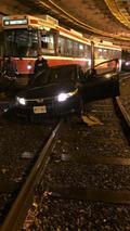 Driver fail sees Honda Civic end up on TTC streetcar tracks