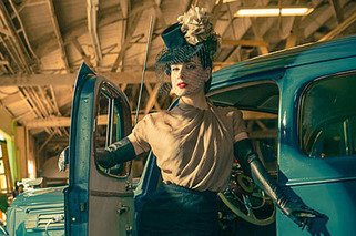 Burlesque Dancer Poses with her Packard for eBay Listing