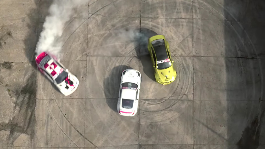Drifters in 350z and BMW M3s attack a decaying Soviet missile base