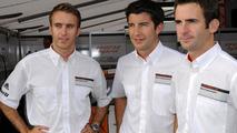 Timo Bernhard, Mike Rockenfeller, Romain Dumas (l.-r.), Porsche 911 GT3 R Hybrid at ALMS round 9 in Road Atlanta, USA 04.10.2010