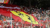 Ferrari fans with a large banner