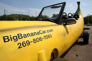 Giant Banana Car Meets Giant Toaster Car in Kalamazoo, MI