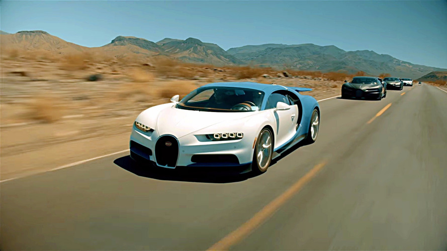 Watch four Bugatti Chirons on a desert road trip