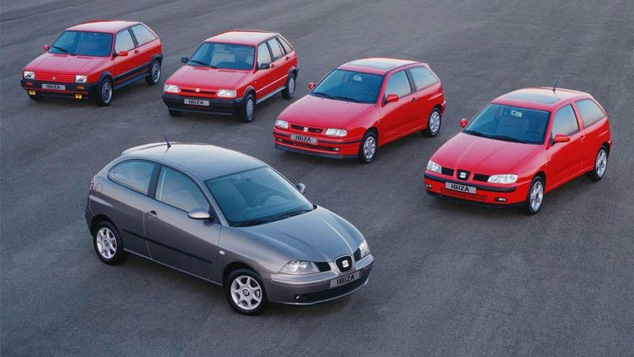 Five generations of SEAT Ibiza