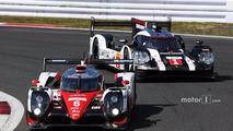 #6 Toyota Racing Toyota TS050 Hybrid- Stéphane Sarrazin, Mike Conway, Kamui Kobayashi, #1 Porsche Team Porsche 919 Hybrid- Timo Bernhard, Mark Webber, Brendon Hartley