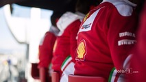 Ferrari on the pit gantry