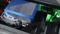 Fuel cell stack (illuminated in blue)