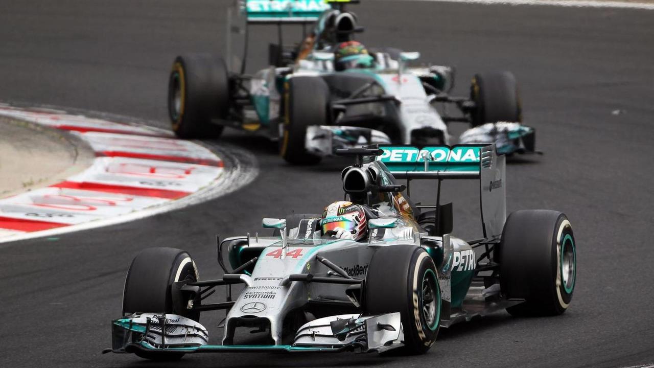 Lewis Hamilton (GBR) leads team mate Nico Rosberg (GER), 27.07.2014, Hungarian Grand Prix, Budapest / XPB